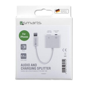 Аудио Адаптер (iPhone, iPad) - 4SMARTS Soundsplit Lightning to Lightnig & AUX 3.5 mm ( 4S468673 )