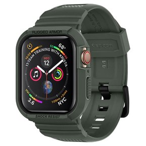 "Противоударен силиконов кейс - SPIGEN Rugged Armor ""PRO"" APPLE WATCH 4/5 (44MM) MILITARY GREEN ( 062CS26016 )"