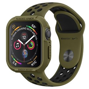 Противоударен силиконов кейс - SPIGEN Rugged Armor за APPLE WATCH 4/5 (44MM) OLIVE GREEN ( 062CS26015 )